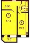 Вариант 1-комнатной квартиры Планировки квартир серии 121-7Т