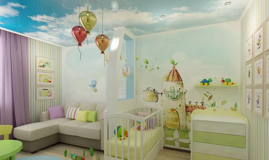 Натяжные потолки в детскую.