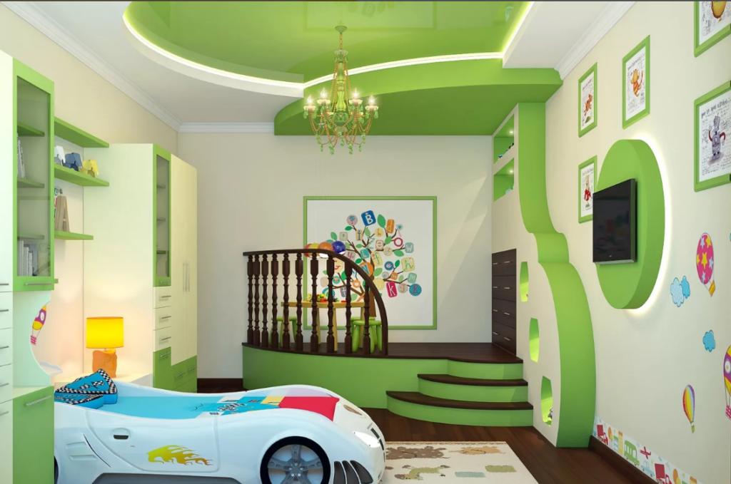 Натяжной потолок в детской.