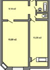 Планировки квартир серии 121-3Т 1-комнатная